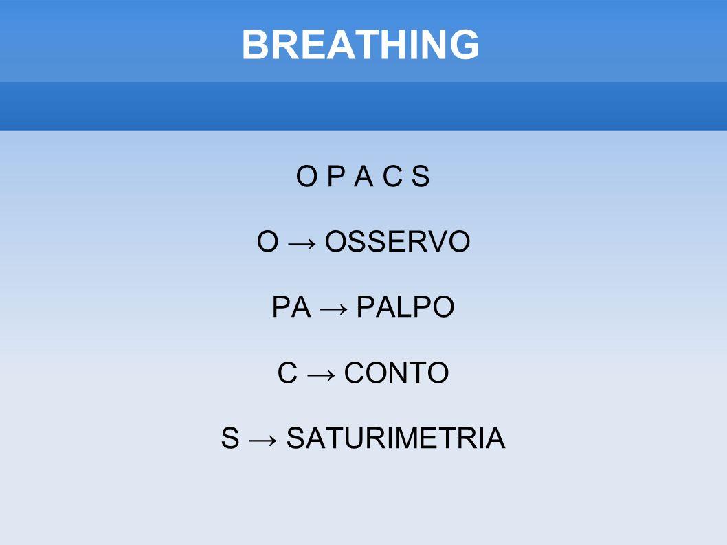 BREATHING O P A C S O OSSERVO PA PALPO C CONTO S SATURIMETRIA