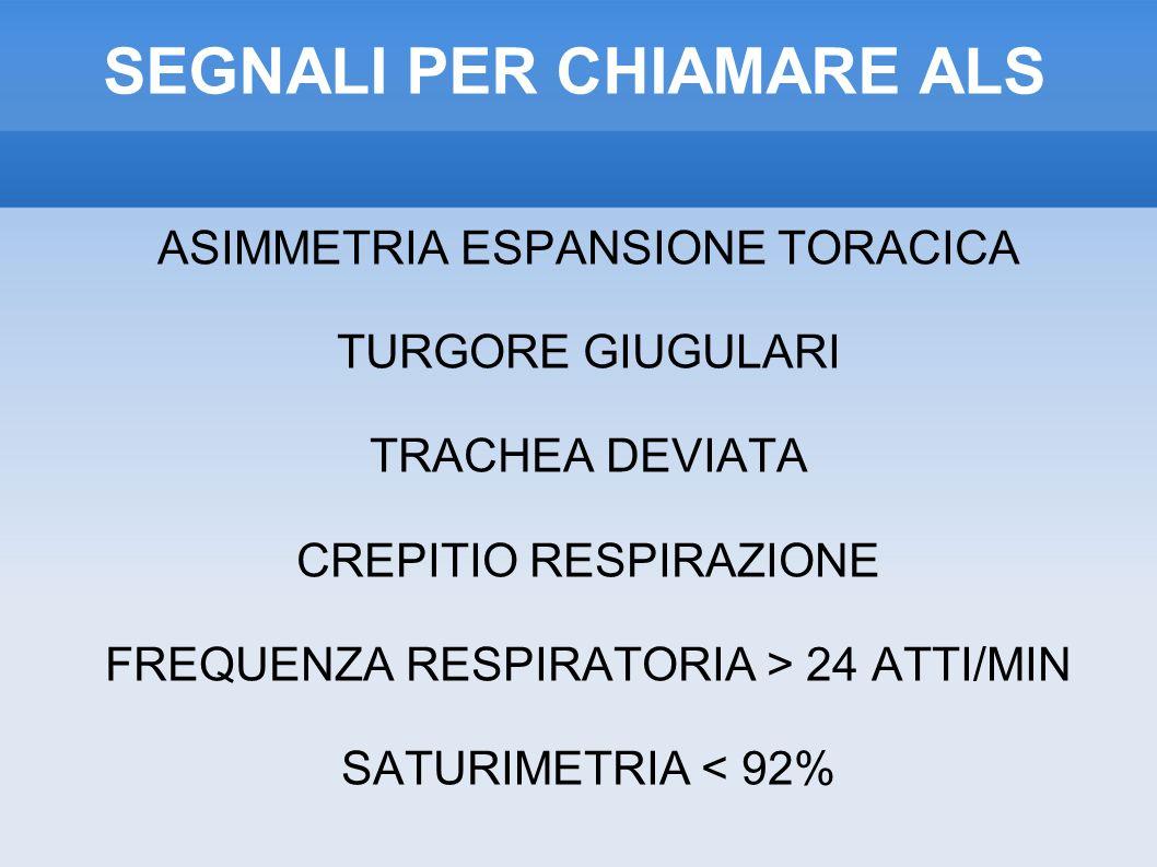 SEGNALI PER CHIAMARE ALS ASIMMETRIA ESPANSIONE TORACICA TURGORE GIUGULARI TRACHEA DEVIATA CREPITIO RESPIRAZIONE FREQUENZA RESPIRATORIA > 24 ATTI/MIN SATURIMETRIA < 92%