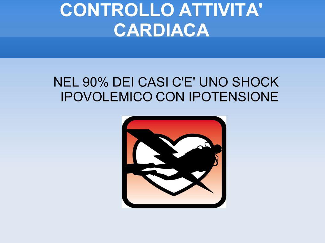CONTROLLO ATTIVITA CARDIACA NEL 90% DEI CASI C E UNO SHOCK IPOVOLEMICO CON IPOTENSIONE