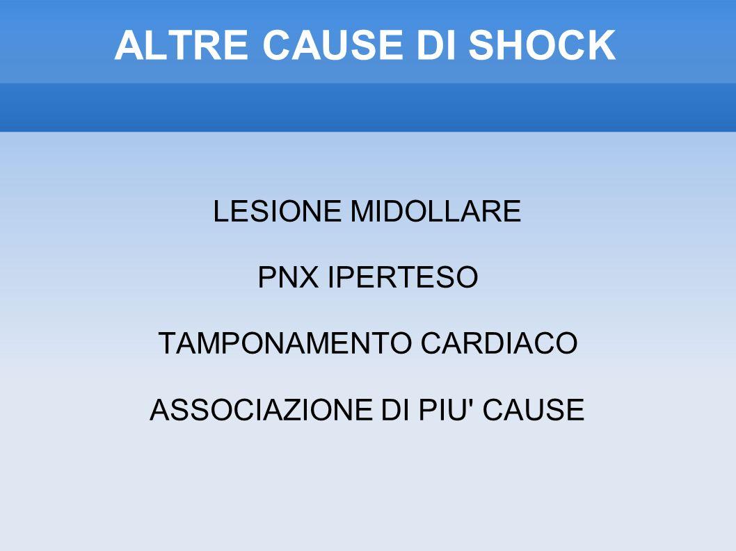ALTRE CAUSE DI SHOCK LESIONE MIDOLLARE PNX IPERTESO TAMPONAMENTO CARDIACO ASSOCIAZIONE DI PIU CAUSE