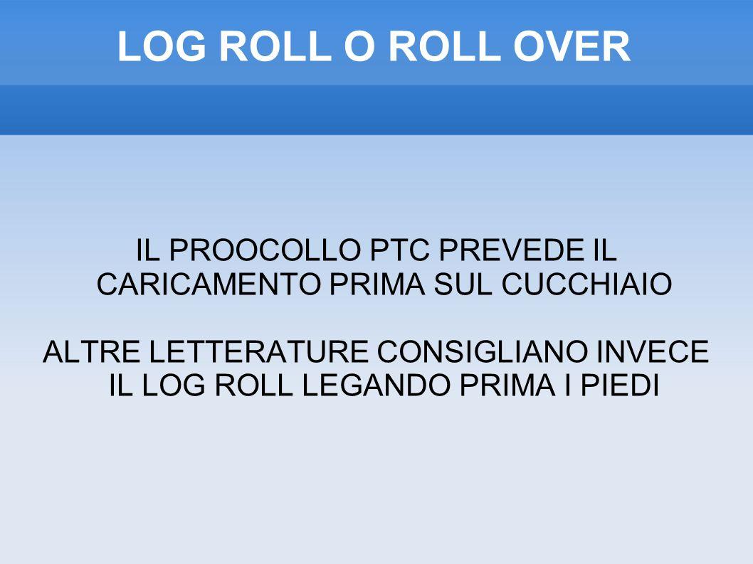 LOG ROLL O ROLL OVER IL PROOCOLLO PTC PREVEDE IL CARICAMENTO PRIMA SUL CUCCHIAIO ALTRE LETTERATURE CONSIGLIANO INVECE IL LOG ROLL LEGANDO PRIMA I PIEDI