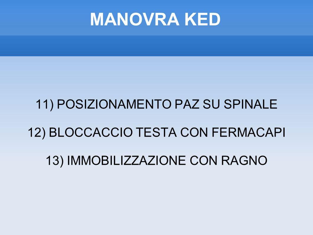 MANOVRA KED 11) POSIZIONAMENTO PAZ SU SPINALE 12) BLOCCACCIO TESTA CON FERMACAPI 13) IMMOBILIZZAZIONE CON RAGNO