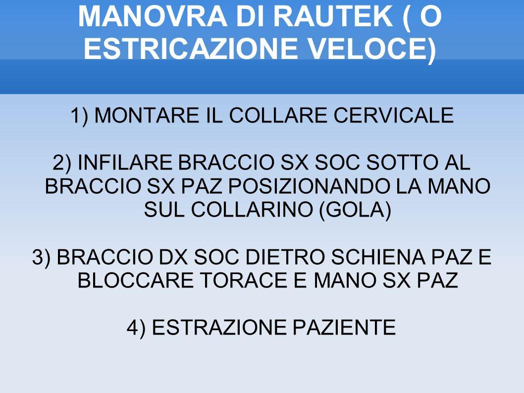 MANOVRA DI RAUTEK ( O ESTRICAZIONE VELOCE) 1) MONTARE IL COLLARE CERVICALE 2) INFILARE BRACCIO SX SOC SOTTO AL BRACCIO SX PAZ POSIZIONANDO LA MANO SUL COLLARINO (GOLA) 3) BRACCIO DX SOC DIETRO SCHIENA PAZ E BLOCCARE TORACE E MANO SX PAZ 4) ESTRAZIONE PAZIENTE