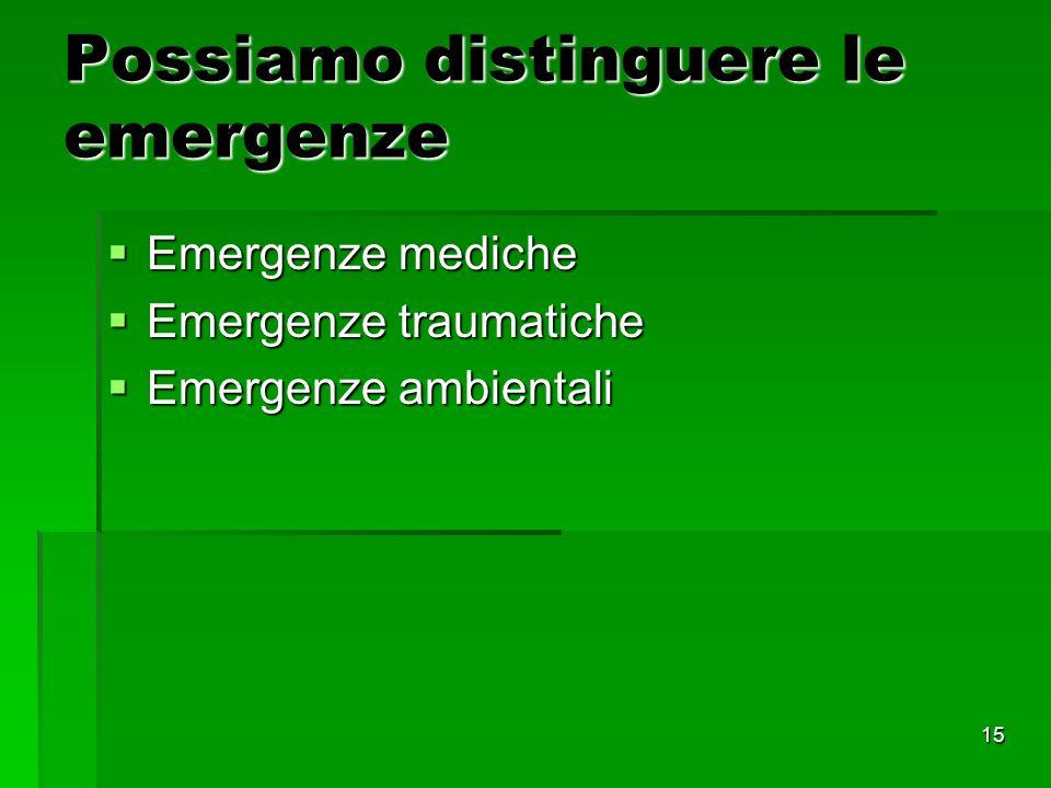 15 Possiamo distinguere le emergenze Emergenze mediche Emergenze mediche Emergenze traumatiche Emergenze traumatiche Emergenze ambientali Emergenze ambientali