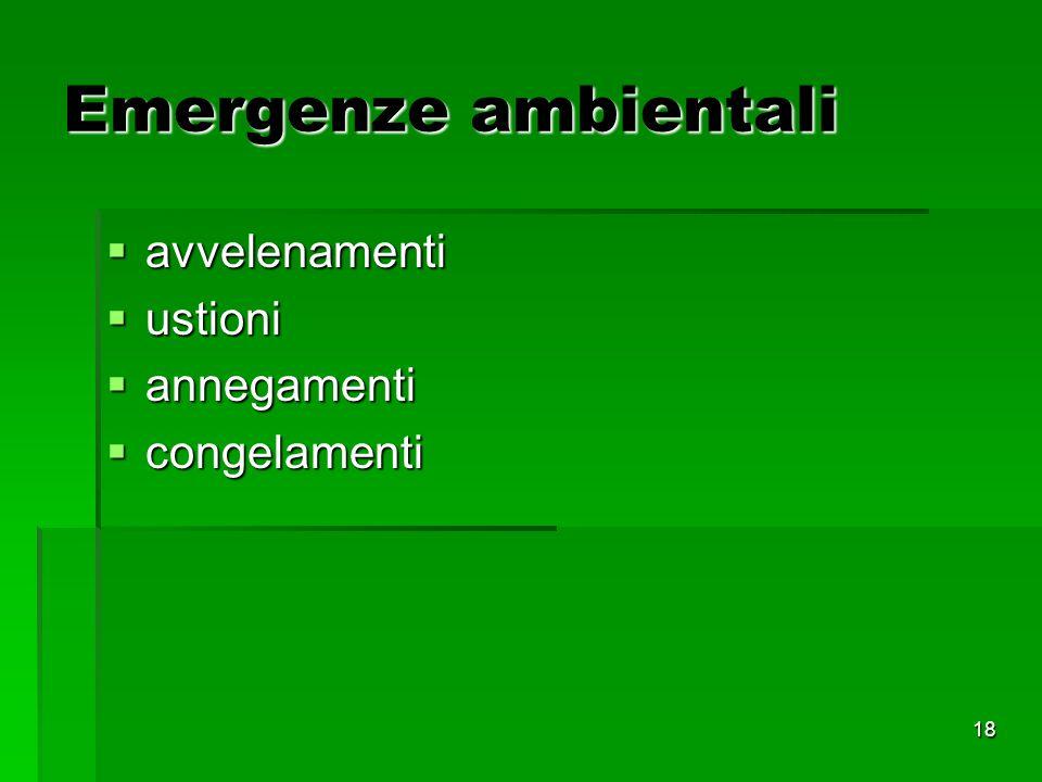 18 Emergenze ambientali avvelenamenti avvelenamenti ustioni ustioni annegamenti annegamenti congelamenti congelamenti