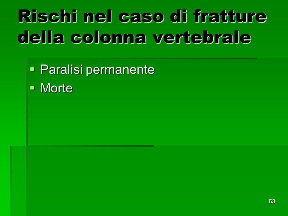 53 Rischi nel caso di fratture della colonna vertebrale Paralisi permanente Paralisi permanente Morte Morte