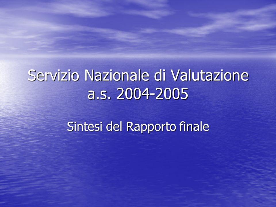 Servizio Nazionale di Valutazione a.s. 2004-2005 Sintesi del Rapporto finale