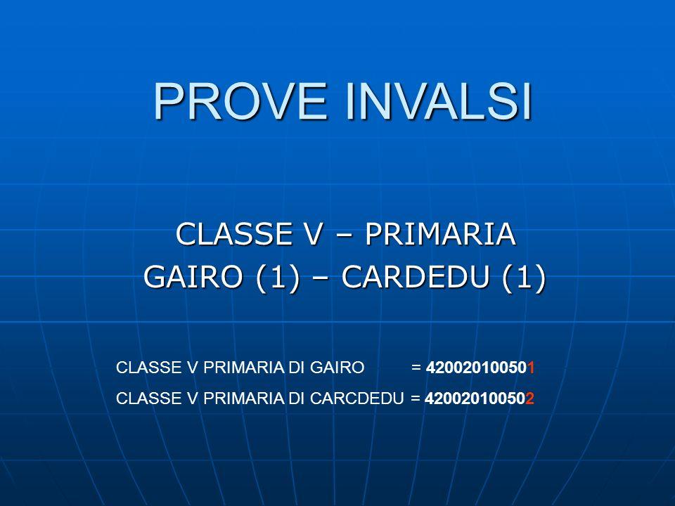 PROVE INVALSI CLASSE V – PRIMARIA GAIRO (1) – CARDEDU (1) CLASSE V PRIMARIA DI GAIRO = 420020100501 CLASSE V PRIMARIA DI CARCDEDU = 420020100502
