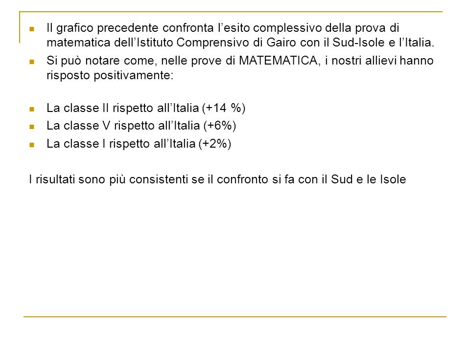 I risultati di matematica confrontano lesito complessivo della nostra scuola (classi quinte) con la Sardegna e con lItalia.