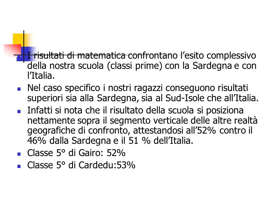 I risultati di matematica confrontano lesito complessivo della nostra scuola (classi prime) con la Sardegna e con lItalia.