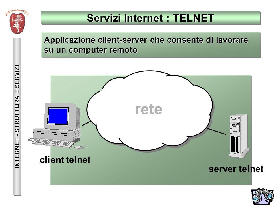 Servizi Internet : TELNET INTERNET - STRUTTURA E SERVIZI client telnet server telnet Applicazione client-server che consente di lavorare su un compute