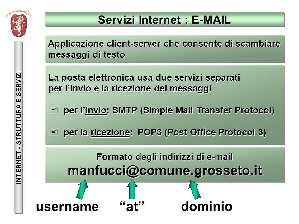 INTERNET - STRUTTURA E SERVIZI La posta elettronica usa due servizi separati per linvio e la ricezione dei messaggi + per linvio: SMTP (Simple Mail Tr