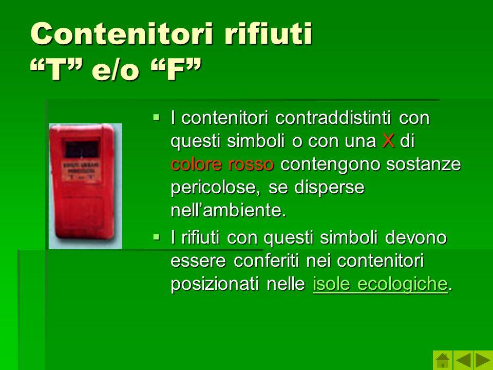 Contenitori rifiuti T e/o F I contenitori contraddistinti con questi simboli o con una X di colore rosso contengono sostanze pericolose, se disperse n