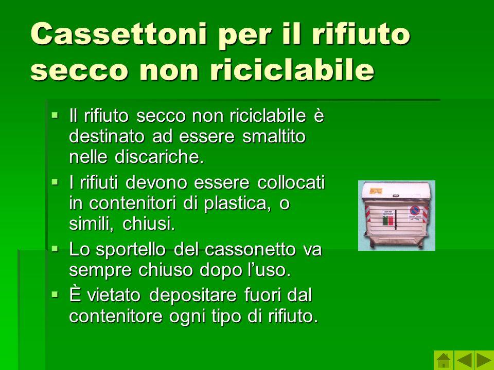 Cassettoni per il rifiuto secco non riciclabile Il rifiuto secco non riciclabile è destinato ad essere smaltito nelle discariche.