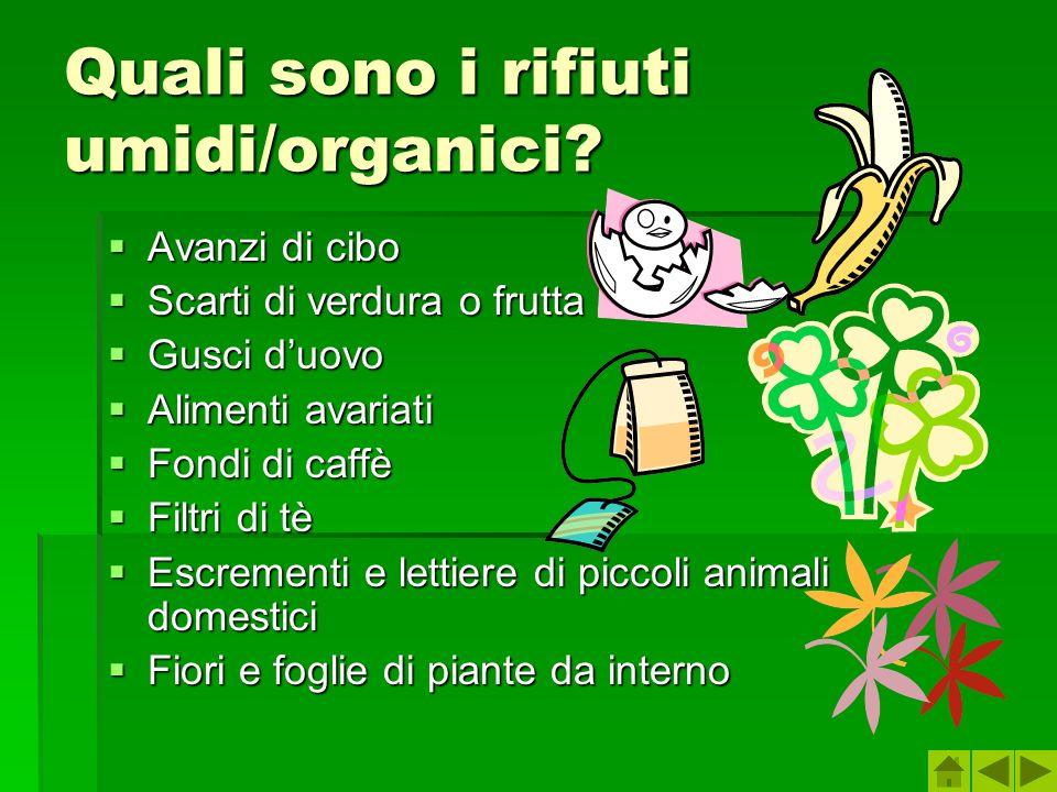 Quali sono i rifiuti umidi/organici? Avanzi di cibo Avanzi di cibo Scarti di verdura o frutta Scarti di verdura o frutta Gusci duovo Gusci duovo Alime