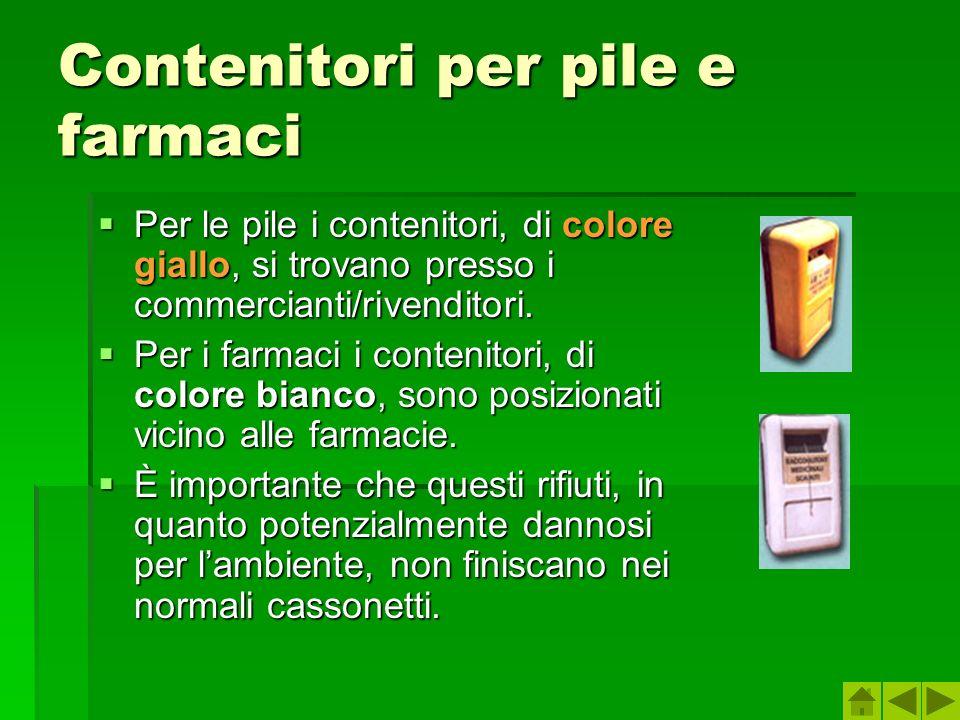 Contenitori per pile e farmaci Per le pile i contenitori, di colore giallo, si trovano presso i commercianti/rivenditori. Per le pile i contenitori, d