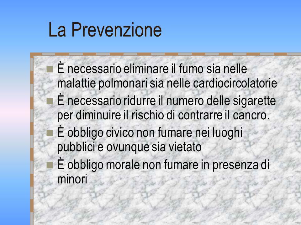 La Prevenzione È necessario eliminare il fumo sia nelle malattie polmonari sia nelle cardiocircolatorie È necessario ridurre il numero delle sigarette