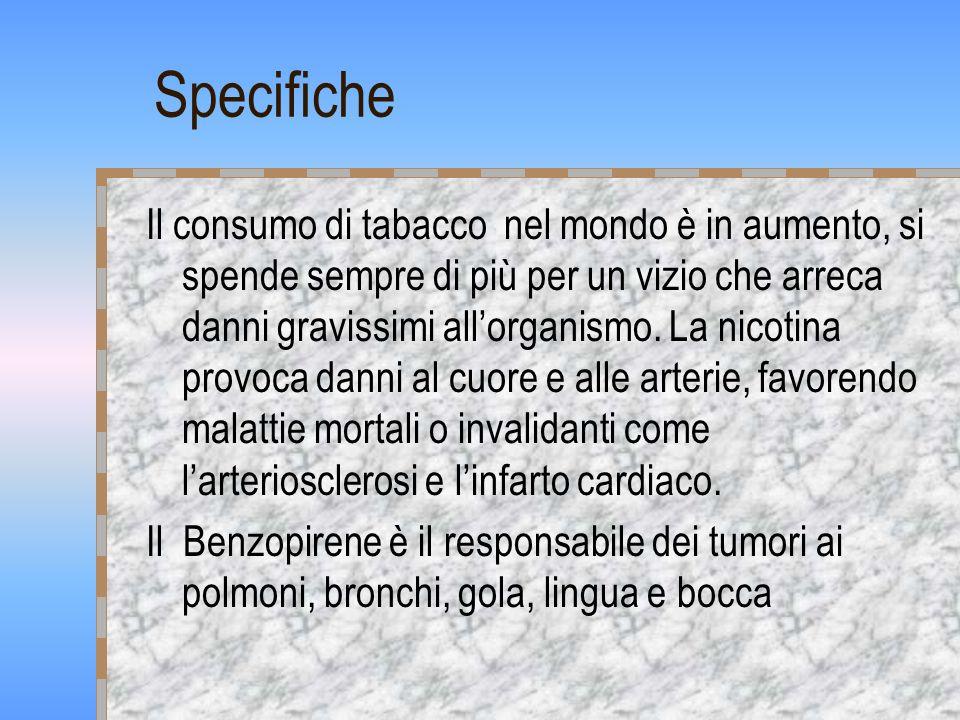 Specifiche Il consumo di tabacco nel mondo è in aumento, si spende sempre di più per un vizio che arreca danni gravissimi allorganismo.