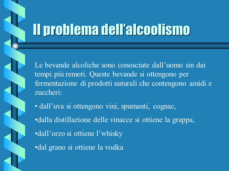 Il problema dellalcoolismo Le bevande alcoliche sono conosciute dalluomo sin dai tempi più remoti.