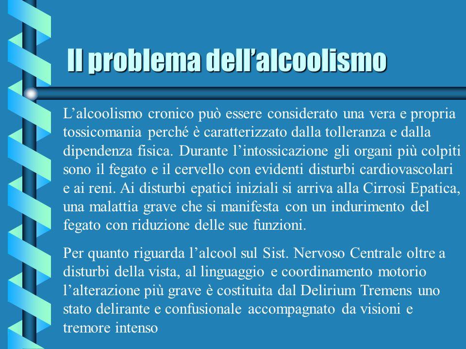 Il problema dellalcoolismo Lalcoolismo cronico può essere considerato una vera e propria tossicomania perché è caratterizzato dalla tolleranza e dalla dipendenza fisica.