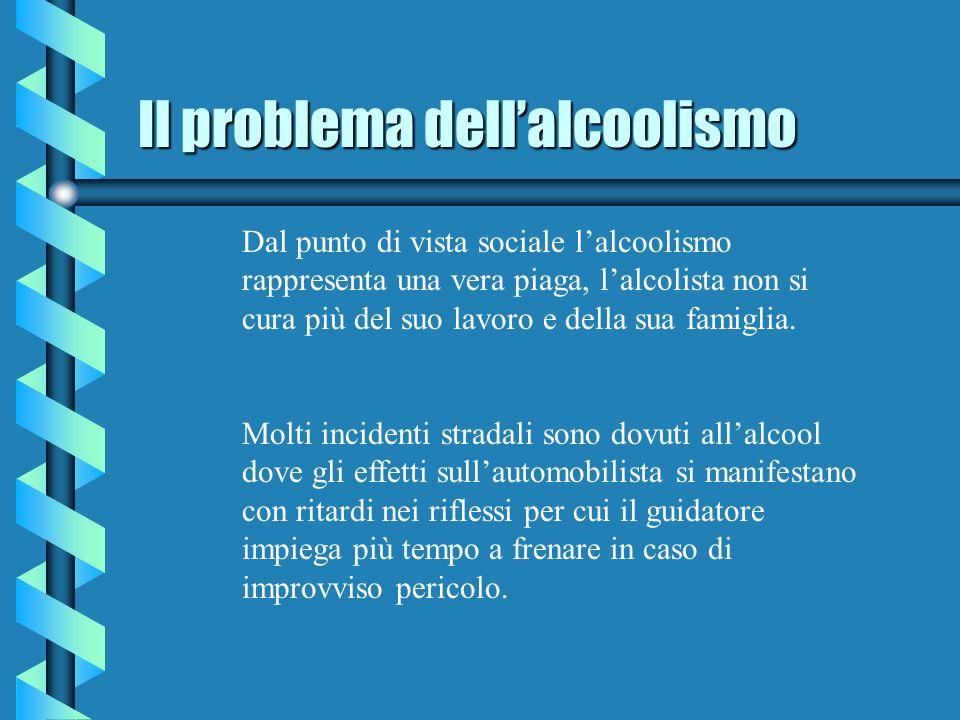 Il problema dellalcoolismo Dal punto di vista sociale lalcoolismo rappresenta una vera piaga, lalcolista non si cura più del suo lavoro e della sua famiglia.