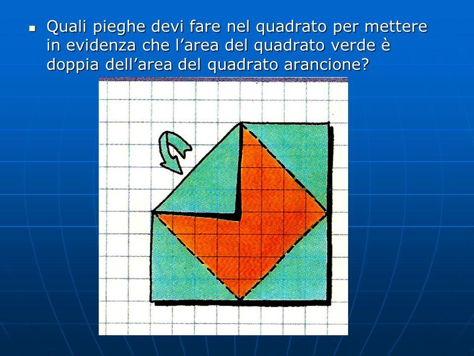 Quali pieghe devi fare nel quadrato per mettere in evidenza che larea del quadrato verde è doppia dellarea del quadrato arancione? Quali pieghe devi f