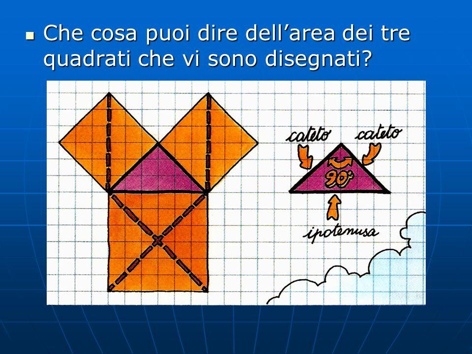 Che cosa puoi dire dellarea dei tre quadrati che vi sono disegnati? Che cosa puoi dire dellarea dei tre quadrati che vi sono disegnati?
