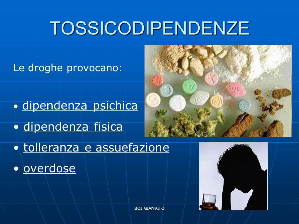 BOI GIANVITO TOSSICODIPENDENZE Le droghe provocano: dipendenza psichica dipendenza fisica tolleranza e assuefazione overdose