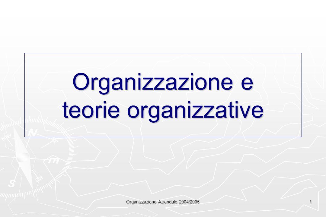 Organizzazione Aziendale 2004/2005 1 Organizzazione e teorie organizzative