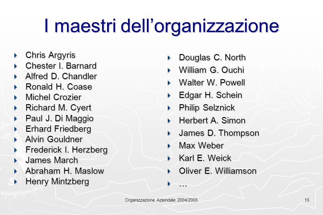 Organizzazione Aziendale 2004/200515 I maestri dellorganizzazione Chris Argyris Chris Argyris Chester I. Barnard Chester I. Barnard Alfred D. Chandler