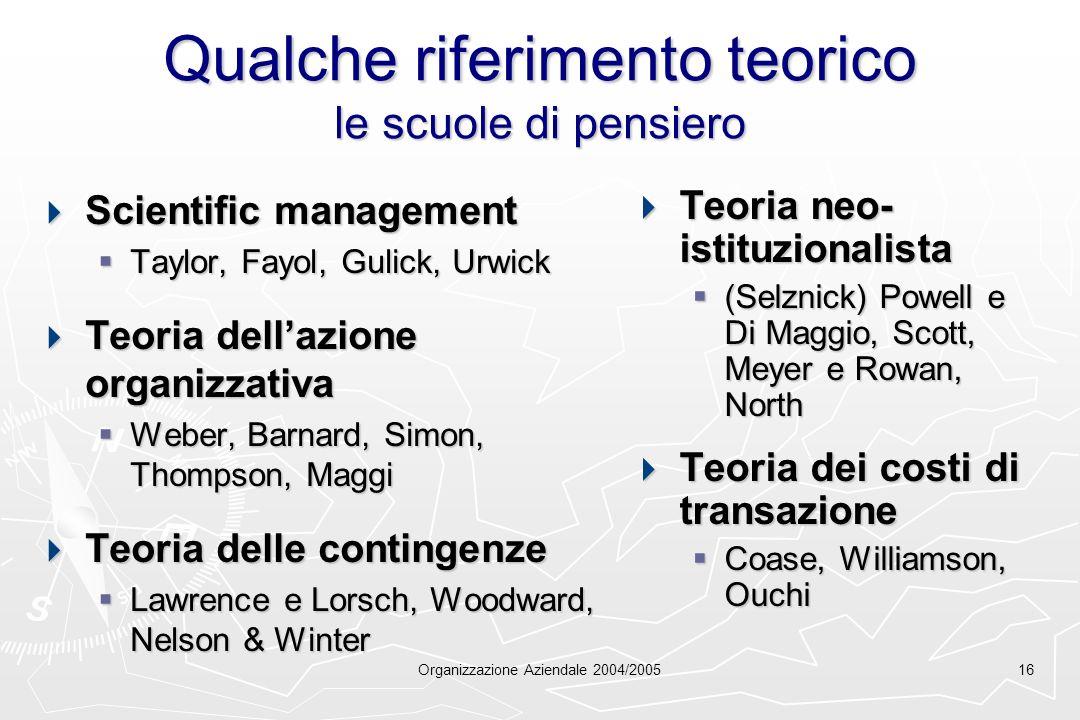 Organizzazione Aziendale 2004/200516 Qualche riferimento teorico le scuole di pensiero Scientific management Scientific management Taylor, Fayol, Guli