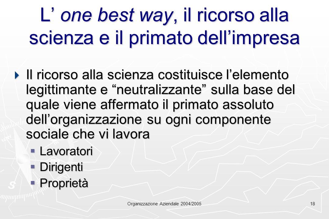 Organizzazione Aziendale 2004/200518 L one best way, il ricorso alla scienza e il primato dellimpresa Il ricorso alla scienza costituisce lelemento le