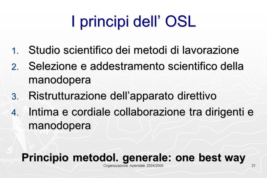 Organizzazione Aziendale 2004/200521 I principi dell OSL 1. Studio scientifico dei metodi di lavorazione 2. Selezione e addestramento scientifico dell