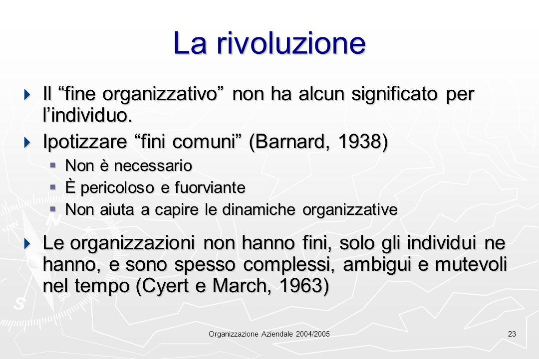 Organizzazione Aziendale 2004/200523 La rivoluzione Il fine organizzativo non ha alcun significato per lindividuo. Il fine organizzativo non ha alcun