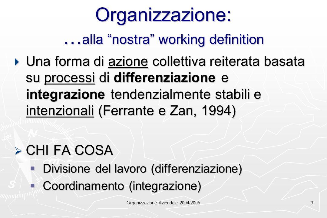 Organizzazione Aziendale 2004/20053 Organizzazione: … alla nostra working definition Una forma di azione collettiva reiterata basata su processi di di