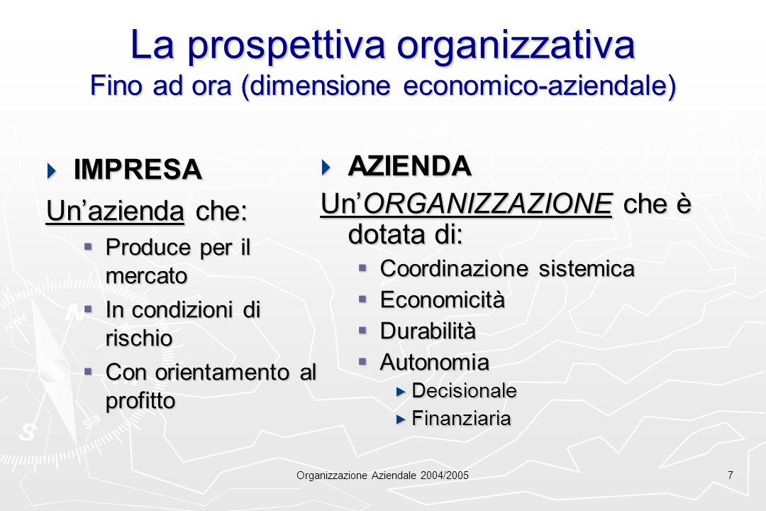 Organizzazione Aziendale 2004/20057 La prospettiva organizzativa Fino ad ora (dimensione economico-aziendale) IMPRESA IMPRESA Unazienda che: Produce p