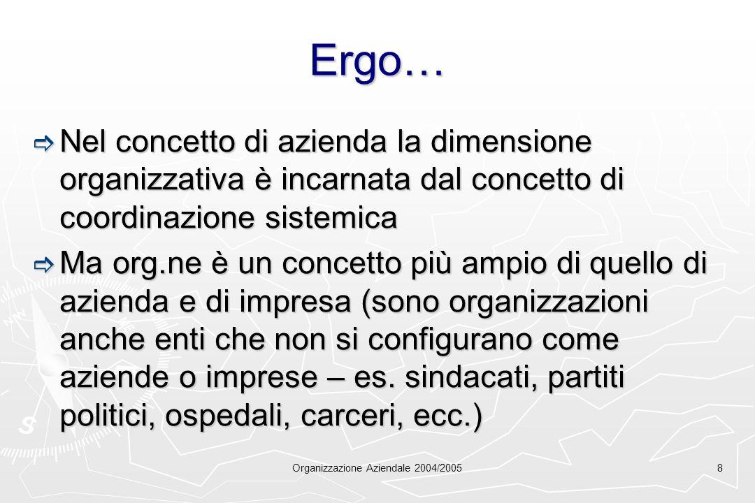 Organizzazione Aziendale 2004/20058 Ergo… Nel concetto di azienda la dimensione organizzativa è incarnata dal concetto di coordinazione sistemica Nel