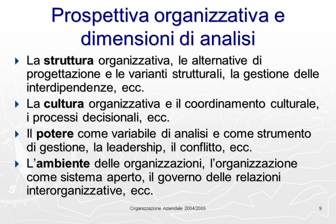 Organizzazione Aziendale 2004/20059 Prospettiva organizzativa e dimensioni di analisi La struttura organizzativa, le alternative di progettazione e le