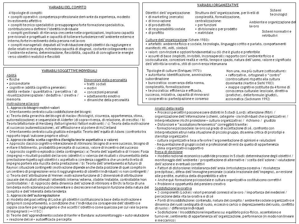 VARIABILI ORGANIZZATIVE VARIABILI DEL COMPITO VARIABILI SOGGETTIVE INDIVIDUALI Obiettivi dellorganizzazione: di marketing (mercato) di innovazione di