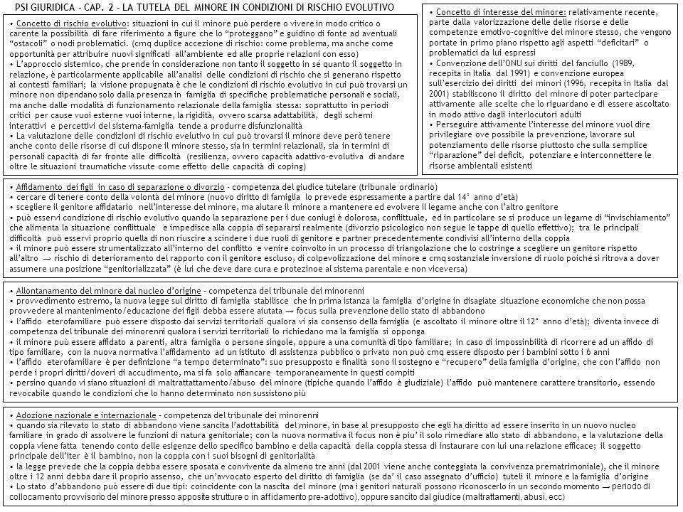 PSI GIURIDICA – CAP. 2 - LA TUTELA DEL MINORE IN CONDIZIONI DI RISCHIO EVOLUTIVO Concetto di rischio evolutivo: situazioni in cui il minore può perder