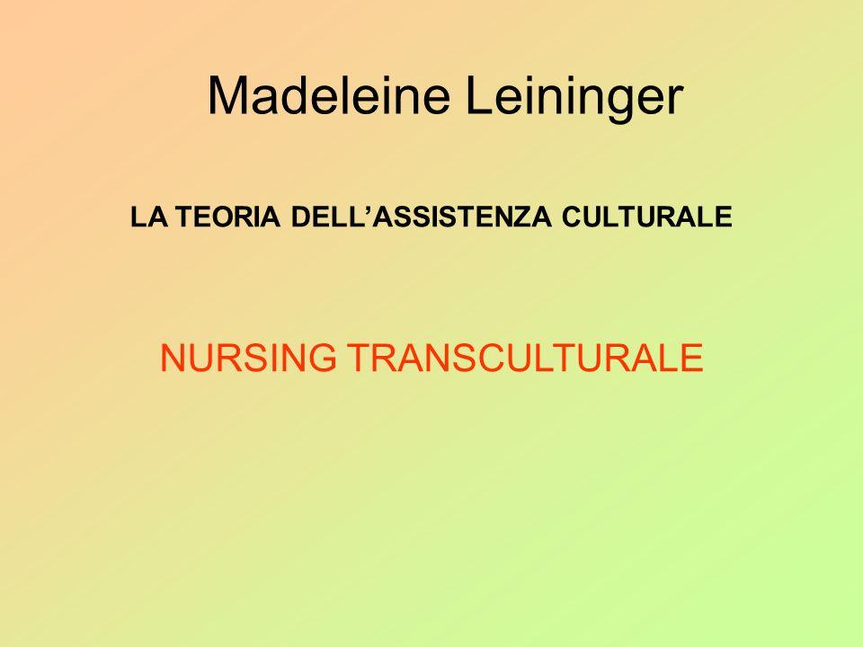 Madeleine Leininger LA TEORIA DELLASSISTENZA CULTURALE NURSING TRANSCULTURALE