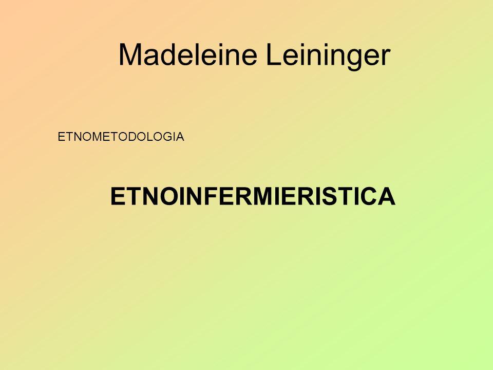 Madeleine Leininger IPOTESI PRINCIPALI ASSISTENZA FENOMENO UNIVERSALE LESSENZA DELLA DISCIPLINA INFERMIERISTICA E LASSISTENZA* CONCETTO DI CULTURA** IL NURSING*** E UN FENOMENO TRANSCULTURALE LASSISTENZA E CONDIZIONATA DALLA CULTURA NON CE CURA SENZA ASSITENZA MA CI PUO ESSERE ASSISTENZA SENZA CURA VARIAZIONI TRANSCULTURALI
