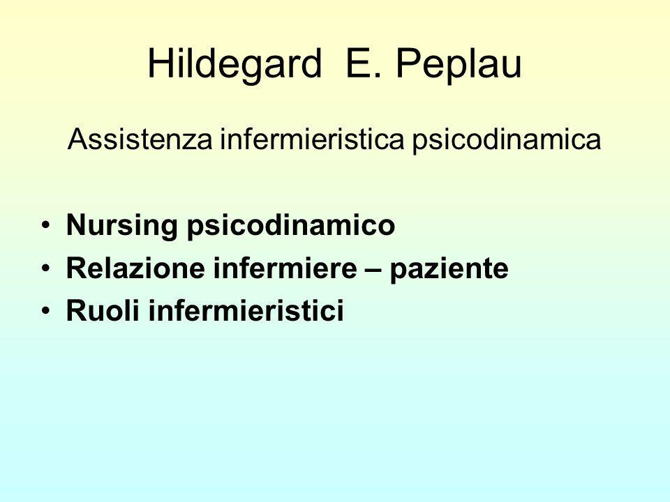 Hildegard E. Peplau Assistenza infermieristica psicodinamica Nursing psicodinamico Relazione infermiere – paziente Ruoli infermieristici