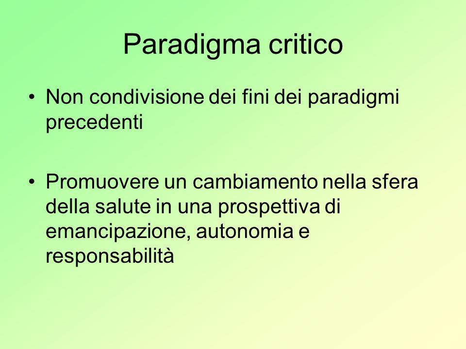 Paradigma critico Non condivisione dei fini dei paradigmi precedenti Promuovere un cambiamento nella sfera della salute in una prospettiva di emancipa