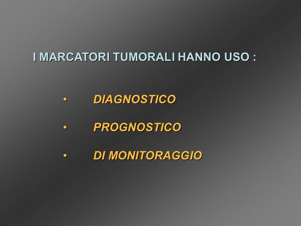 I MARCATORI TUMORALI HANNO USO : DIAGNOSTICODIAGNOSTICO PROGNOSTICOPROGNOSTICO DI MONITORAGGIODI MONITORAGGIO