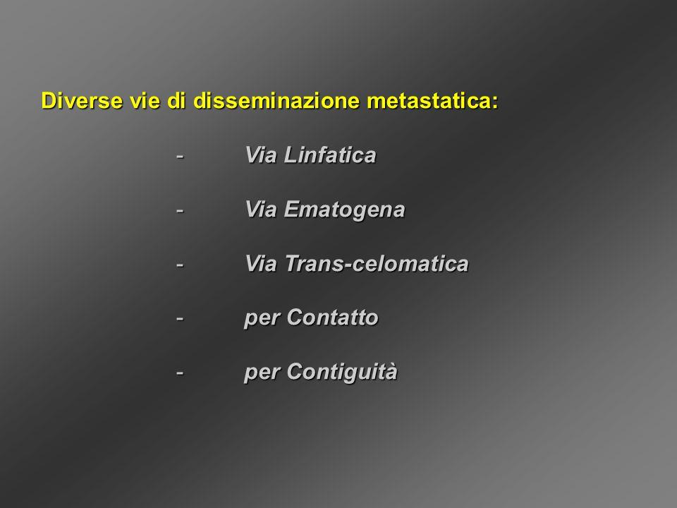 Diverse vie di disseminazione metastatica: - Via Linfatica - Via Ematogena - Via Trans-celomatica - per Contatto - per Contiguità
