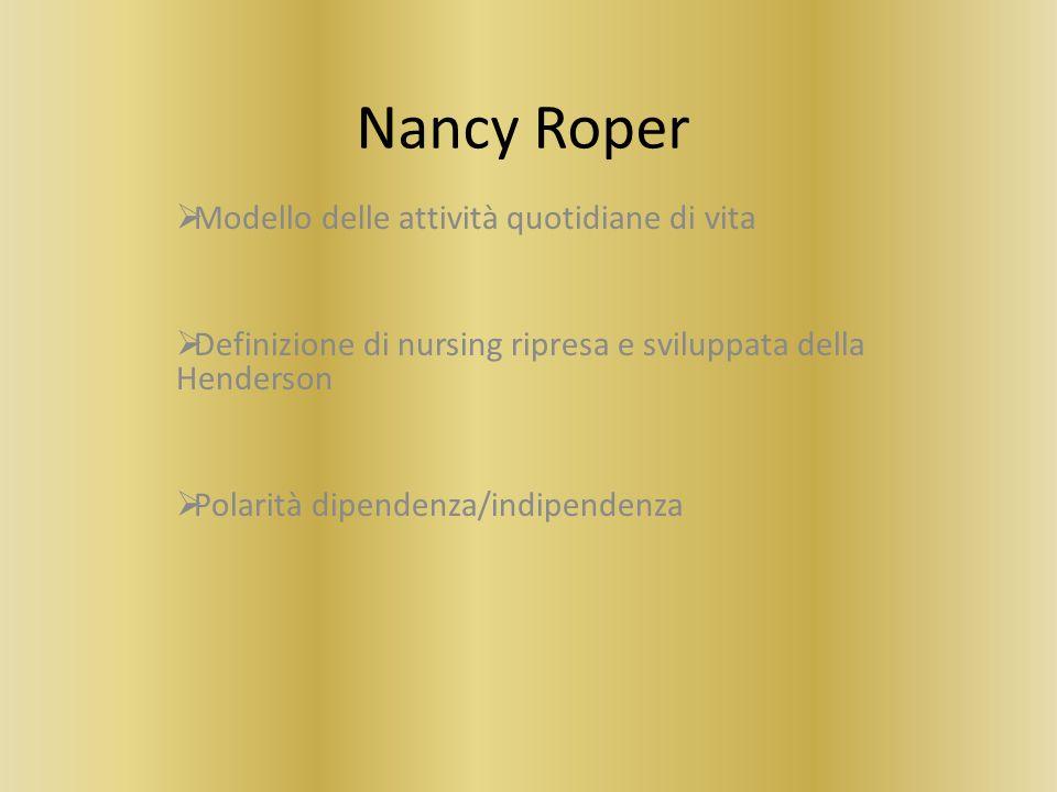 Nancy Roper Modello delle attività quotidiane di vita Definizione di nursing ripresa e sviluppata della Henderson Polarità dipendenza/indipendenza