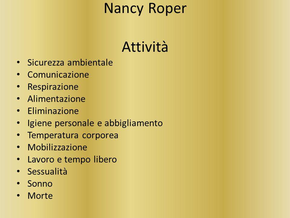Nancy Roper Attività Sicurezza ambientale Comunicazione Respirazione Alimentazione Eliminazione Igiene personale e abbigliamento Temperatura corporea