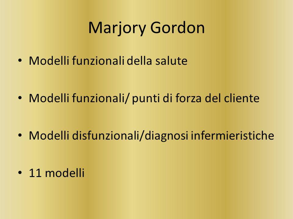 Marjory Gordon Modelli funzionali della salute Modelli funzionali/ punti di forza del cliente Modelli disfunzionali/diagnosi infermieristiche 11 model