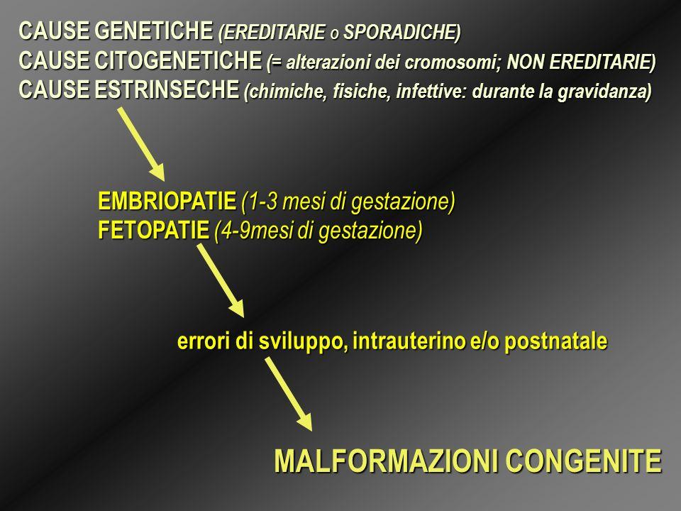CAUSE GENETICHE (EREDITARIE O SPORADICHE) CAUSE CITOGENETICHE (= alterazioni dei cromosomi; NON EREDITARIE) CAUSE ESTRINSECHE (chimiche, fisiche, infe